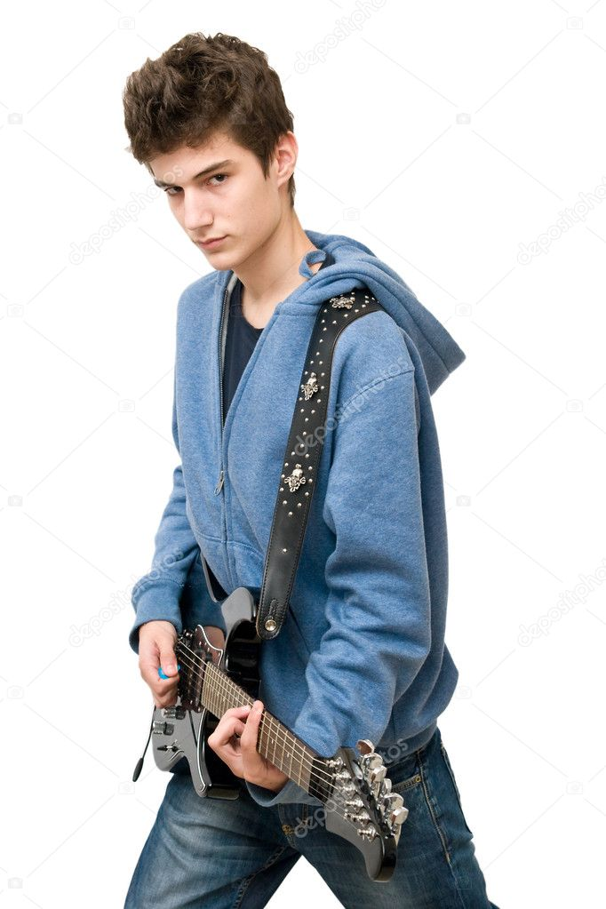 Teenager playing electric guitar on white background — Stock Photo #4298288