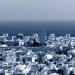 Stock Photo: Barcelonskyline panorama, blue toned