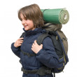 Child with a backpack ready for a trip — Stock Photo