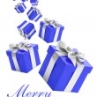 Voilet gift boxes with silver ribbon on white background. — Stock Photo #4283330