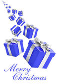 Voilet gift boxes with silver ribbon on white background. — Stock Photo