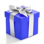 Tek voilet hediye kutusu ile beyaz zemin üzerine gümüş kurdele. — Stok fotoğraf