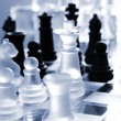 Stock Photo: Chess, transparent and black pieces