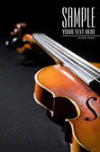 Close-up on violin. Space for text isolated on black — Stock Photo