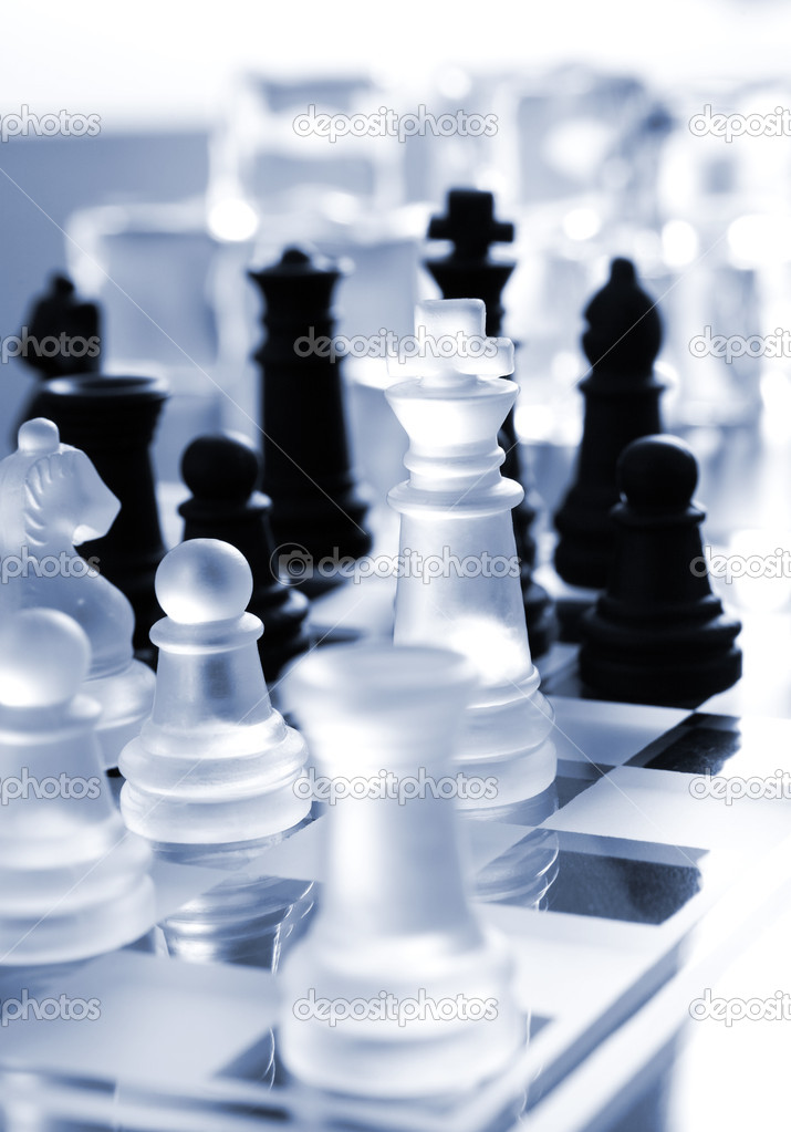 Chess, transparent and black pieces  — Stock Photo #5190713