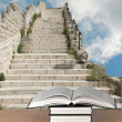 Books and stairs — Stock Photo