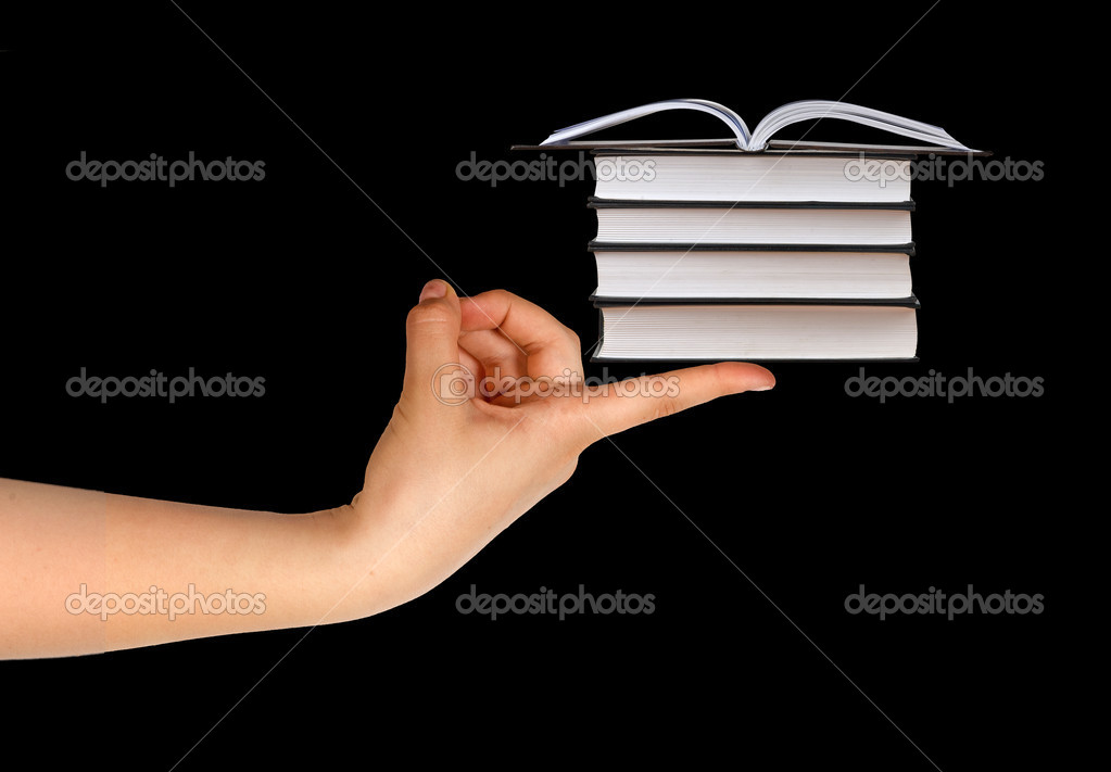 Books on finger — Stock Photo #4658057