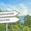 Stock Photo: Road sign to education and success