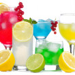 Alcohol cocktails with fruits and berries — Stock Photo