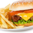 Hamburger with vegetables and fries - Stock Photo