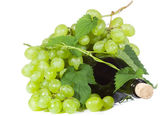 Green grape wirh bottle of wine — Stock Photo