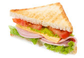 Sandwich with ham and vegetables — Stock Photo