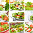 Collage with salad — Stock Photo