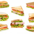 Sandwiches with ham and vegetables — Stock Photo