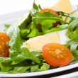 Rocket salad with vegetables and egg — Stock Photo