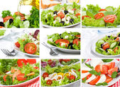 Collage con insalata — Foto Stock