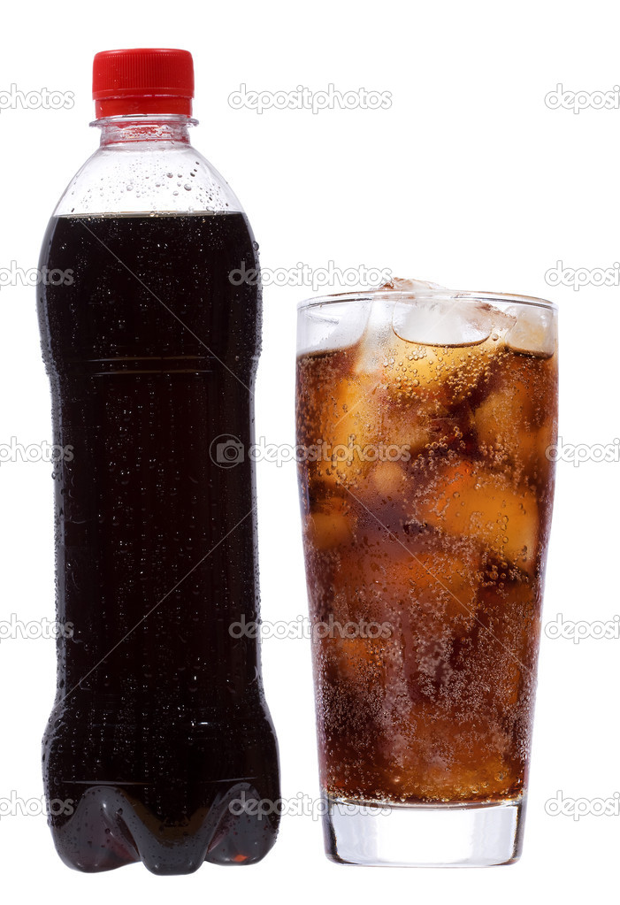 Bottle and glass with cola on white background — Stock Photo #4873221