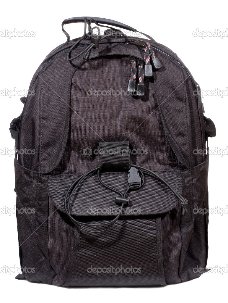 Black backpack on white background — Stock Photo #4873521