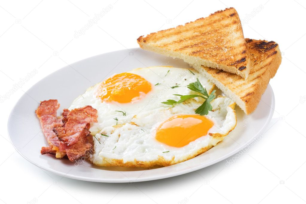 Fried eggs with  bacon and toasts on white background — Stock Photo #5167896