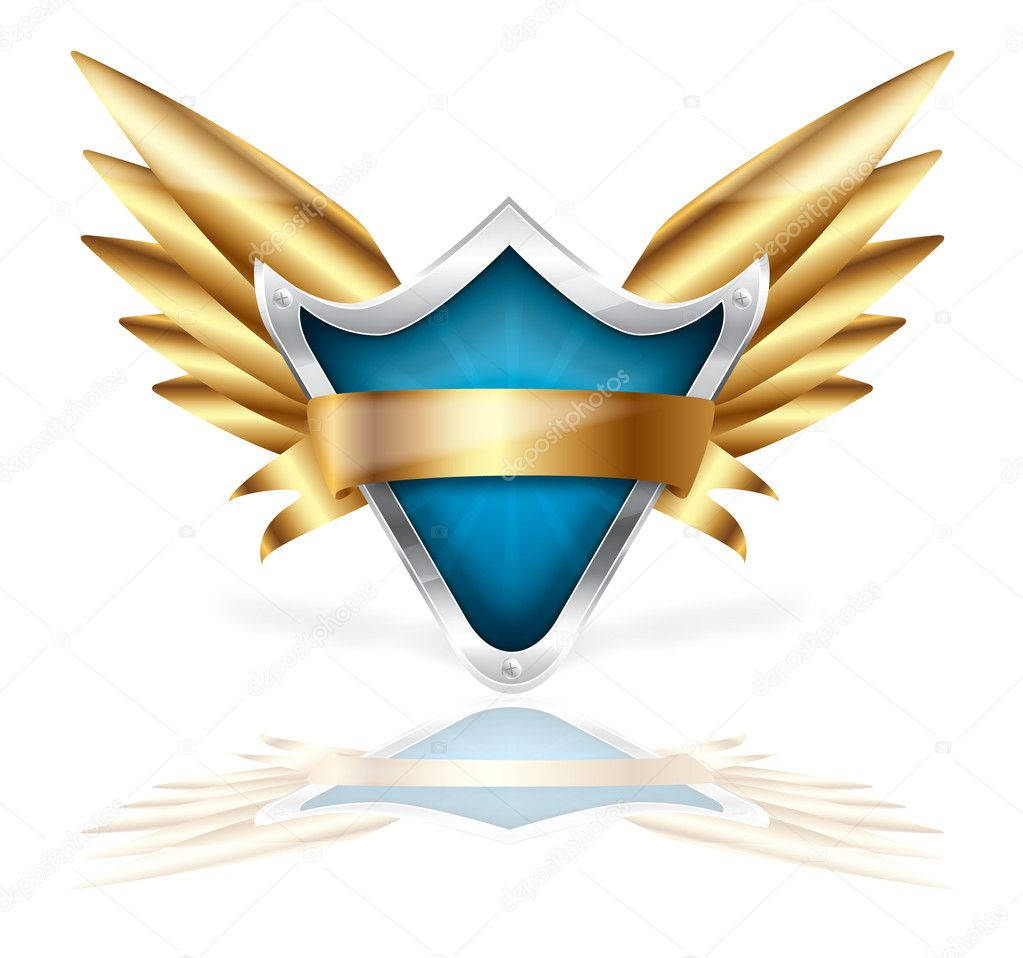 Vector shield and golden wings on a isolated background  Stock Vector #3979275