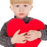 Little beautiful boy holds heart — Stock Photo #4882350