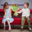 Boy and girl on the date — Stock Photo