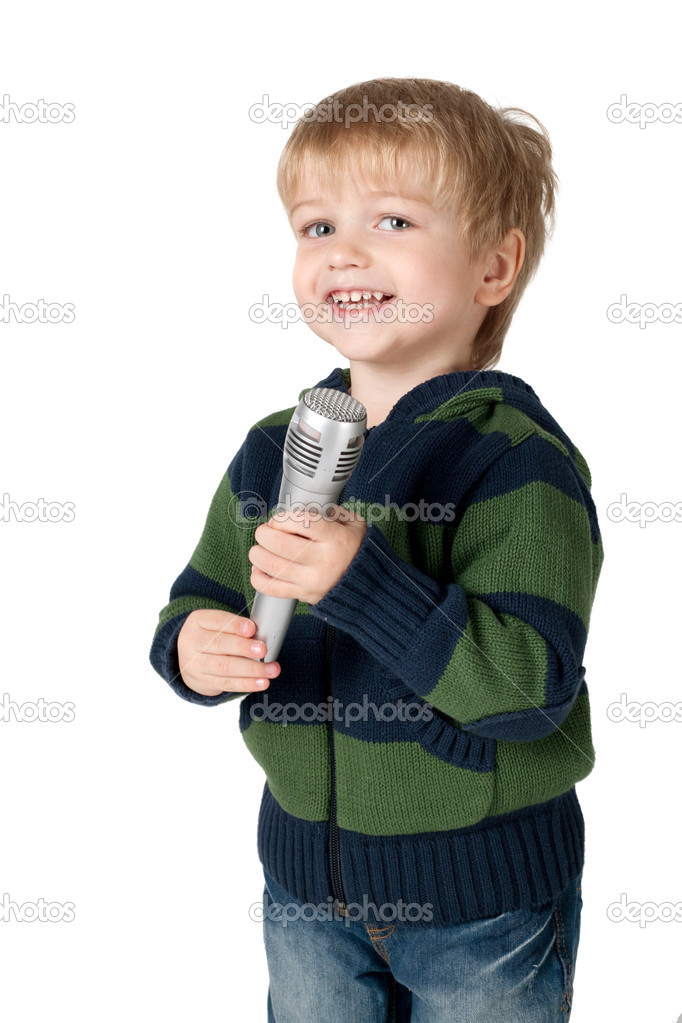 Little funny boy with mic isolated on white — Stock Photo #4933503