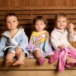 Three funny children in sauna — Stock Photo #4940315