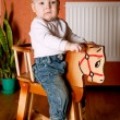 Little funny boy riding horse — Stock Photo #4940968