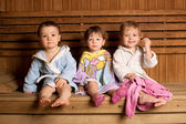 Three funny children in sauna — Stock Photo