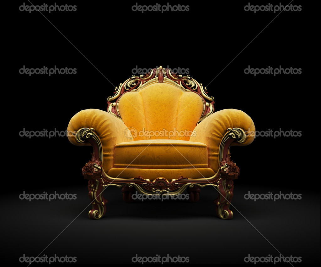 Old-fashioned chair on black background 3D render — Stock Photo #4469575