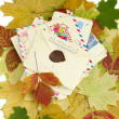 Old letters and autumn leaf — Stock Photo #3971595