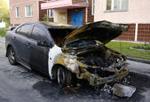 Burned auto — Stock Photo