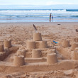 Stock Photo: Big sandcastle on beach