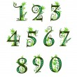 Digits with floral elements - Stock Vector