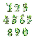 Digits with floral elements — Stock Vector