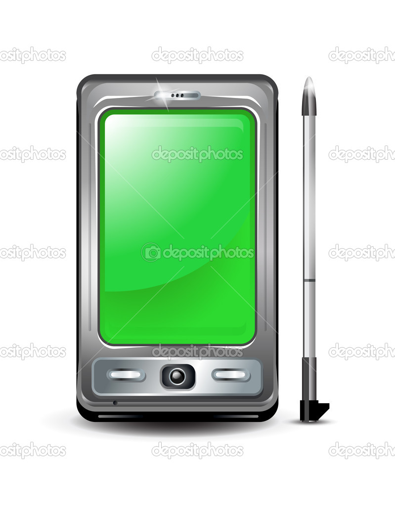 Smartphone with green screen realistic illustration.  Stock Vector #4513190