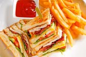 Triple decker club sandwich — Stock Photo