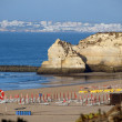 Beach of Praia de Rocha in Portimao, Algarve, Portugal - Stock Photo