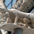 Siena - column with the she-wolf in front of the Duomo facade — Photo