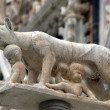 Siena - column with the she-wolf in front of the Duomo facade - Photo