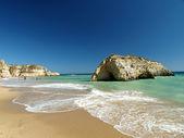A section of the idyllic Praia de Rocha beach — Stock Photo