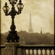 Lamppost on the bridge of Alexandre III in Paris, France - Stock Photo
