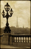 Lamppost on the bridge of Alexandre III in Paris, France — ストック写真