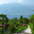 View over Lago Maggiore with beautiful park and houses on the fo - Stock Photo