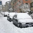 Stock Photo: Cars parked on street buried under snow
