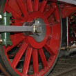 Vintage steam locomotive wheels close-up — Stock Photo