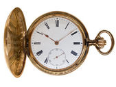 Vintage golden pocket watch, aged 1912, from Switzerland, isolat — 图库照片