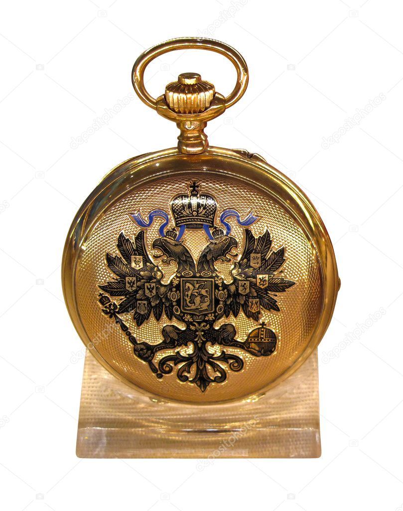 Golden pocket watch (circa 1900) with Russian coat of arms on the cover, isolated  on white  Stock Photo #4593628