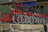 Molte biciclette in discesa rosse in affitto alla stazione ferroviaria di swiss — Foto Stock